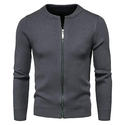 Chaqueta de suéter Entallada de Color sólido para Hombre Cremallera de Moda Manga Larga Cuello Redondo Abrigo de Punto básico Regular Informal XXL