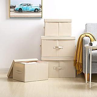 Lot de 2 boîtes de rangement avec couvercle - Grand sac de rangement lavable - Panier de rangement en tissu - Pour Ikea PA...