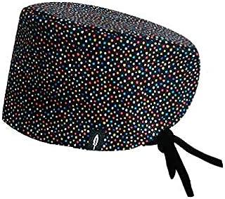 ROBIN HAT - Surgical Scrub Cap Confeti - Black Surgical Cap for Long Hair - 100% Cotton(Autoclavable)