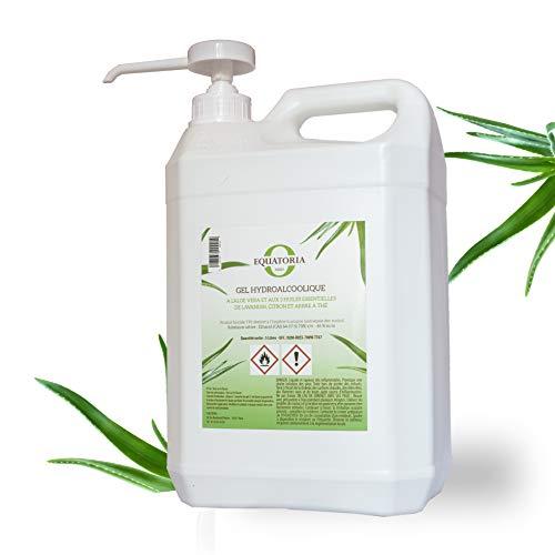 Gel hydroalcoolique à l'Aloe Vera et aux 3 Huiles Essentielles   70% d'alcool Norme EN14476   Bidon de 5 L avec pompe doseuse   Made in France