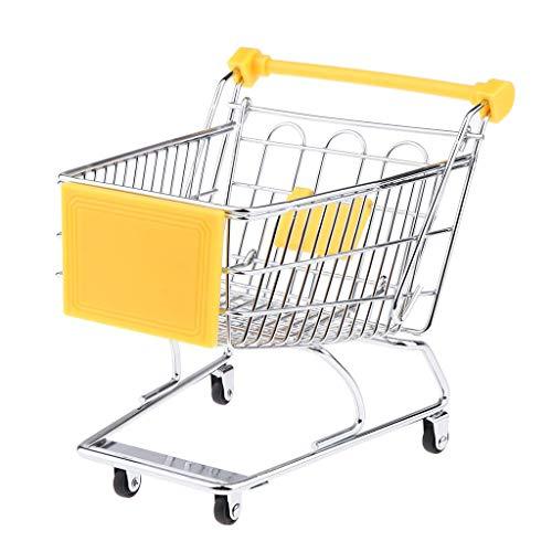 Mini Shopping Cart Miniature Supermarket Handcart Shopping Utility Cart Storage Toy for Kids - Yellow