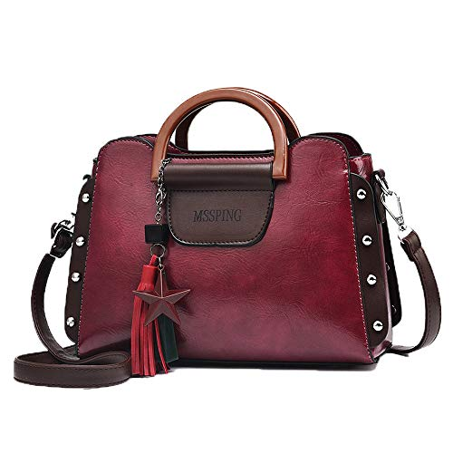 Women's Fashion PU Leather Handbags Vintage Rivet Tassel Crossbody Bag for Female Ladies Shoulder Bag