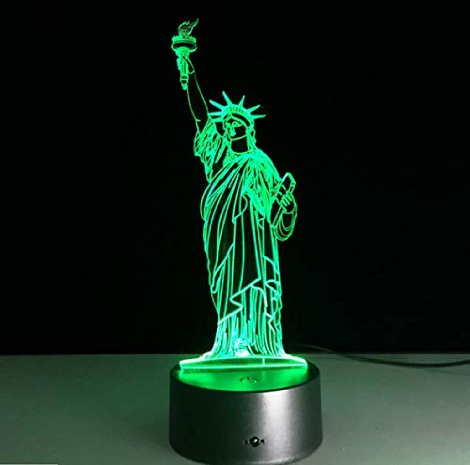 BMY Statue of Liberty Led Night Light USB 7 colors Changeable Mood Lamp Bedroom Table Lamp Kids Friends