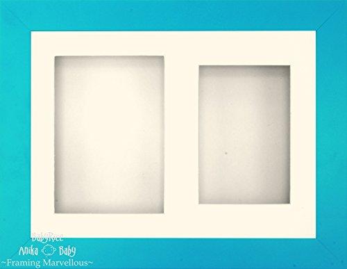 Anika-Baby 29,2 x 21,6 cm Finition bleue Cadre 3d/2 trous Passe-partout crème