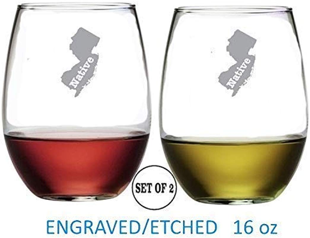 New Jersey Stemless Wine Glasses Etched Engraved Perfect Fun Handmade Gifts For Everyone Set Of 2