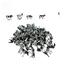 庭のレンガ 30ピースの黒と白のおもちゃ牛のモデルジオラマ風景ホースケール列車絵画鉄道鉄道農場動物 ミニチュアレンガ ( Color : N scale )