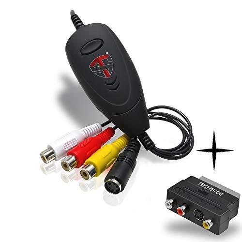 TechSide Convertitore VHS Analogico Digitale + Adattatore Scart   Nuova Versione 2021   Windows 10 + Nuovo Software   USB 2.0 Audio/Video Grabber Capture  Converti in Formato Digitale Le Vecchie VHS