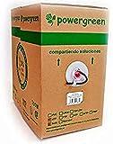 Powergreen CAB-05305-BEX Bobina de Cable Cat 5E Utp 305 Metros Exterior Rígido Caja 24 Awg, Multicolor