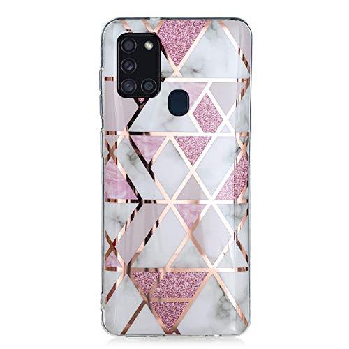 YiKaDa - Hülle für Samsung Galaxy A21s, Marmor Ultradünnes Weiches TPU Silikon Schutzhülle mit Glitter Bling Roségold hülle - Rosa