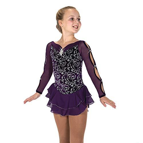 Eiskunstlaufkleid Lila Damen Eislaufkleid Für Mädchen Exquisites Design Stretchy Skating Wear Handgefertigte, Schweißableitende Langarmware,Purple-XS