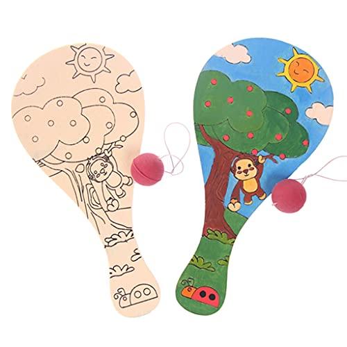 MYhose Pelota de Paleta con Cuerda Handcraft Interactive DIY Pdleball, con Cuerda Raqueta de Madera Regalo de Aprendizaje temprano, para niños Juego de enseñanza Juguete 2