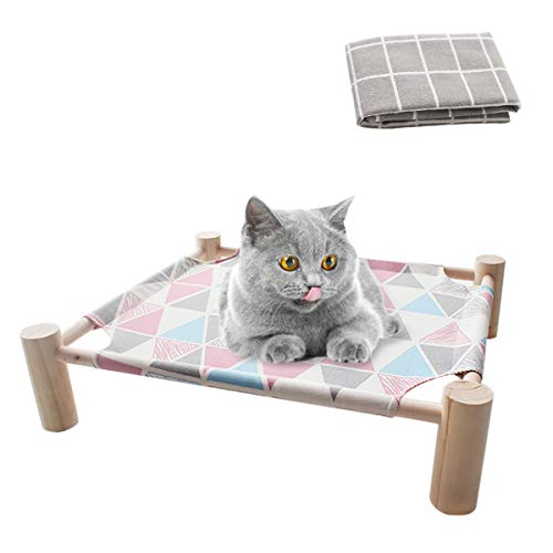 FONPOO Hundebett Katzenbett, Erhöhtes Outdoor Hundebett für Alle Jahreszeiten, Hundekorb für <22 Pfund Haustier,Isolat Schmutzig und Nass 53 × 48 × 13 cm