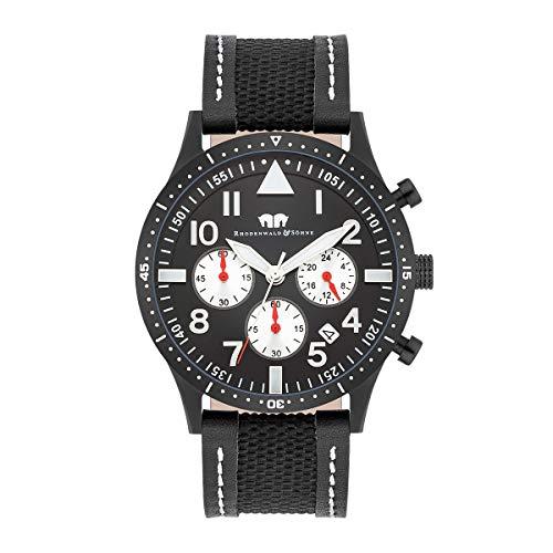 Rhodenwald & Söhne Reloj para Hombre análoga Japón Mecanismo de Cuarzo con Correa de Cuero auténtico/Textil 10010314