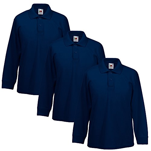 Fruit of the Loom - Polo a maniche lunghe per bambini 3 x blu navy. 3-4 Anni