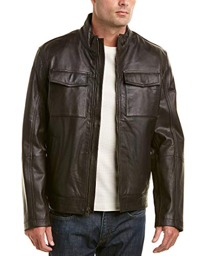 Cole Haan Men's Washed Leather Trucker Jacket, Brown, X-Large