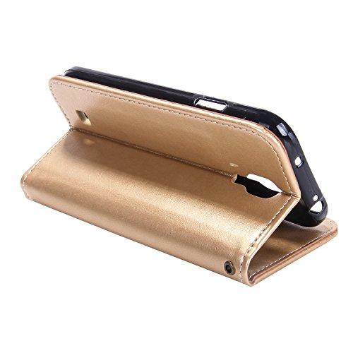 ISAKEN Compatibile con Samsung Galaxy S4 Custodia - Libro Flip Case Portafoglio Wallet Cover in PU Pelle Tinta Unita Custodia Embossed Rose Caso con Supporto di Stand/Carte Slot, Rose: Oro