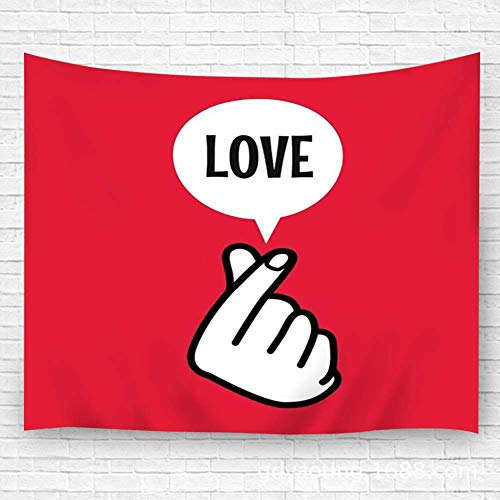 WKLNM Wandkunst Wandtapijt Wall Art Tapestry Wall Carpets Finger Heart Sign symbool met Love Balloon tekst voor Bedroom Living Room Dorm 59.1