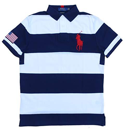 Ralph Lauren Poloshirt Big Pony Polo Custom Slim Fit Blau Weiß gestreift Größe M