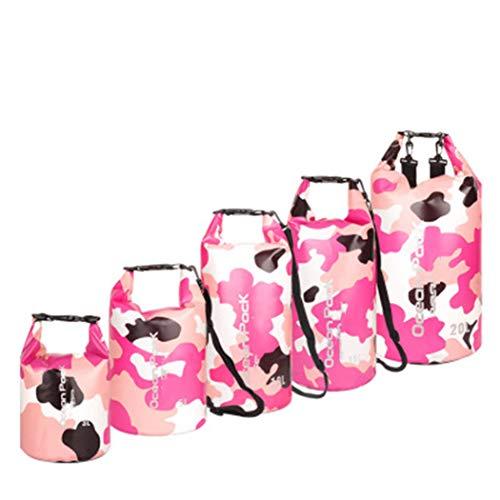 Jancerkmou - Mochila impermeable de camuflaje para exteriores, bolsa seca, kayak, rafting, deportes, almacenamiento portátil, camping, viajes, rio, trekking, bolsa de camuflaje, rosa, XXXL