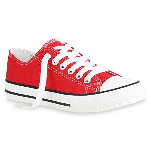 stiefelparadies Damen Sneaker Low Basic Turnschuhe Freizeit Schnürer Stoff Schuhe 156274 Rot Brooklyn 40 Flandell