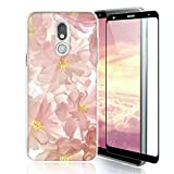 TJS Phone Case Compatible with LG Stylo 5/LG Stylo 5 Plus/LG Stylo 5V/LG Stylo 5X, with [Full Coverage Tempered Glass Screen Protector] TPU Matte Color Design Transparent Clear Soft Skin (Blush)