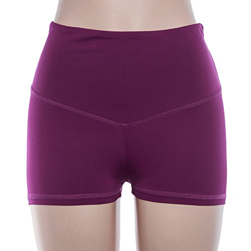 OULII Shorts de Yoga de Taille Haute Sport Confortable Fitness Shorts de Course d'entraînement pour Les Femmes Lady - Taille M (Rose Rouge)