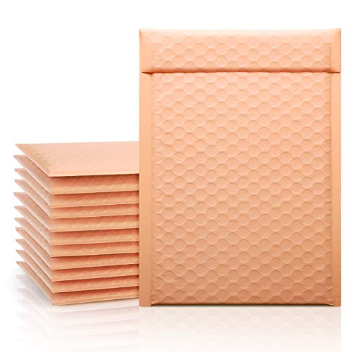 Fuxury Poly Bubble Mailer 6x10 Peach Coral, 50 Pack Small Padded Packaging Bags, Bulk Envelope for Mailing & Shipping, Self-Seal Shipping Bags, Packaging for Small Business, Boutique