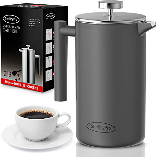 SterlingPro French Press Coffee Maker-Double Walled Large Coffee Press with 2 Free Filters- Granule-Free Coffee Stylish Rust Free Kitchen Accessory-Stainless Steel French Press 15L Grey