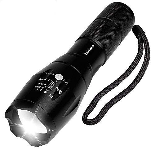 Udaily BBE1-01 A100 Taktische Hochleistung-Superhelle LED Handgerät Tragbare wasserdichte Taschenlampe im Freien mit Einstellbarem Fokus und 5 Leuchtungsmodi, 1 Stück