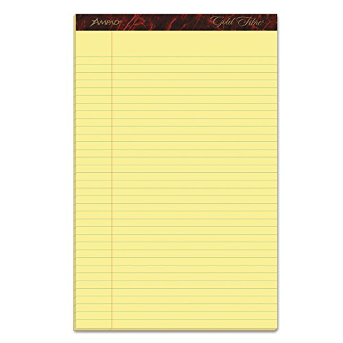 Ampad Gold Fibre Writing Pads, 8-1/2' x 14', Legal Rule, Canary Paper,...