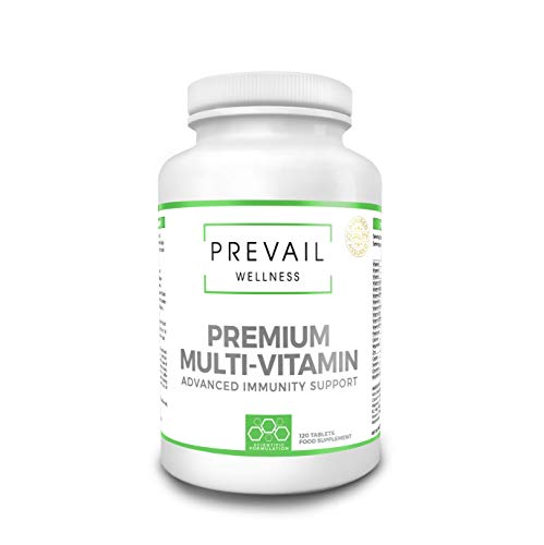 PREVAIL WELLNESS Premium Multivitamins & Minerals Tablet | 120 Tablets (up to 4 Months Supply) | Key Nutrients Vitamins and Minerals for Men and Women | Advanced Immunity Protection | Made in The U.K