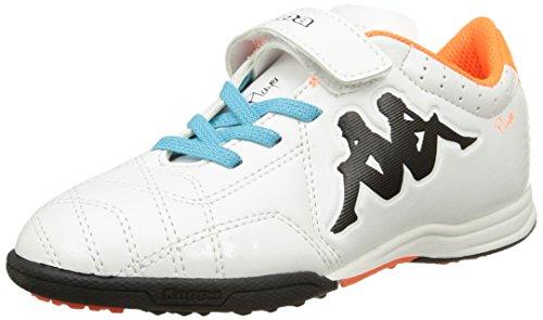 Kappa 4 Soccer Player Tg Ev, Scarpe da Football Americano Unisex-Bambini, Bianco Bianco Arancione Fluo, 31 EU