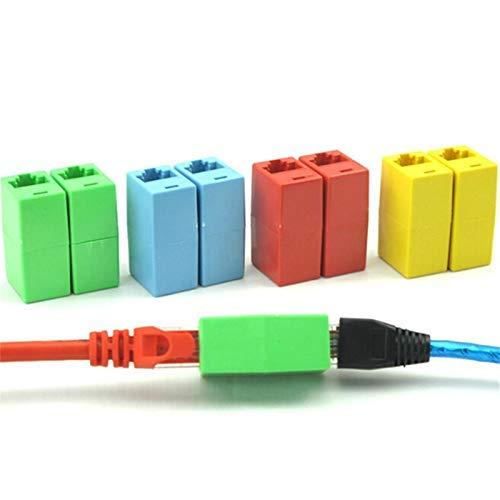 Durable 5PCS RJ45 CAT 5 5E 6 6a Enchufe extensor Conector de cable de red Red Ethernet Cable de LAN de doble cabeza recta Acoplador de ensamblador - (Longitud del cable: como descripción, Color: Color