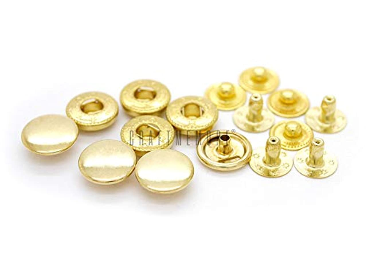 CRAFTMEmore 50 Pack Multi-Size Gold Plating Snap Buttons S-Spring Socket Popper Fasteners Jacket Bag Closures (10mm (0.39