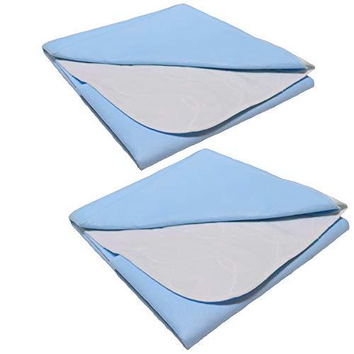TODA 2er Pack Matratzenauflage, Inkontinenzauflage, wasserdicht, waschbar - Saugvlies, Inkontinenzunterlage Verschiedene Größen (90 x 110 cm)