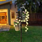 MorTime Solar Faucet Garden Stake with Two Planters, LED Lights Flowing Water Retro Metal Faucet Yard Stake Outdoor Plant Holder Flower Pots for Lawn Garden Decorations
