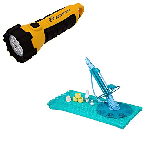Toucan City LED Flashlight and XtremepowerUS Automatic Suction Pool Vacuum for Above Ground and In Ground Pools 75037