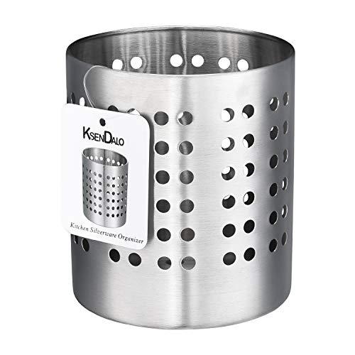 Utensil Holder Stainless Steel, KSENDALO Silverware Holder Countertop, Utility Sturdy Cooking Utensil Holder for Kitchen Home Office, Tall 5.12 x Diameter 4.33(M)