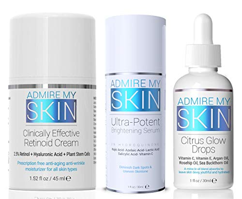 Ultra Potent Dark Spot Correcting Set - Hands Down The Most Effective Regimen For Removing Dark Spots - Includes The Best Hydroquinone Serum + Retinol Cream and Vitamin C Oil For A Youthful Glow