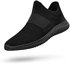 QANSI Mens Running Shoes Slip-on Tennis Sneakers Athletic Sports Walking Shoes Lightweight Workout Gym Shoes Black 10.5