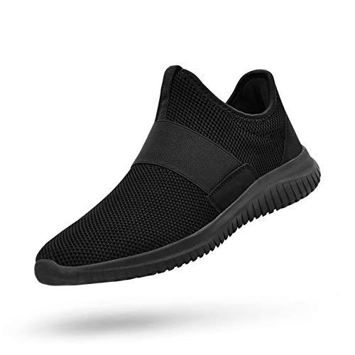 QANSI Men Gym Shoes Slip-on Fashion Sneakers Lightweight Running Walking Shoes Black 11.5