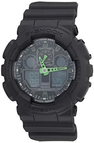 Casio Relógio masculino GA-100 XL Series G-Shock Quartz 200M WR resistente a choques, Preto/Verde, one-size