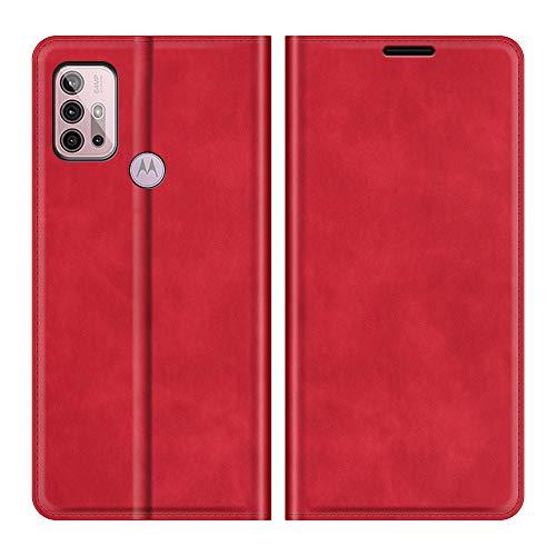Fertuo Hülle für Motorola Moto G30 / Moto G10 / G20, Handyhülle Leder Flip Hülle Tasche mit Kartenfach, Magnetverschluss, Silikon Innenschale Schutzhülle Cover Lederhülle für Moto G30 / G10, Rot