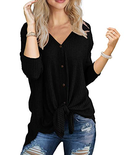 IWOLLENCE Womens Loose Henley Blouse Bat Wing Long Sleeve Button Down T Shirts Tie Front Knot Tops Black Medium