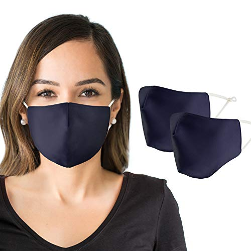 face mask for women Reusable Face Mask for Women (2 Pack) Cloth Face Mask Made w/Organic Cotton and Polyester Spandex Designed for Optimal Breathability & Effectiveness - Washable + Bonus Storage Bag (Navy Blue)