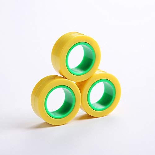 Magnetic Rings, Stress Relief Toys, Decompression Relief Autism, Anxiety, Stress Toys, Training Relieves Stress Reducer 6 Pcs Set(Yellow outside and green inside)