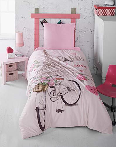 Zirvehome Paris Love - Juego de ropa de cama (funda nórdica de 155 x 220 cm, 1 fundas de almohada de 80 x 80 cm)