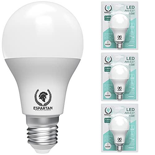 Espartan Bombilla LED E27 Luz fría 15W, 6400K, 1480 lúmenes, Equivalente a 120W incandescente, Casquillo gordo, Blanco frío - 3 unidades [Clase de eficiencia energética A+]