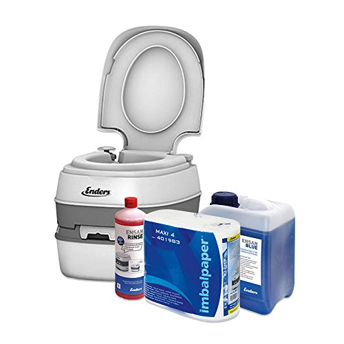 Enders Campingtoilette Starter-Set Blue 2,5 Liter Comfort [ 4945 ]: inkl. Sanitärflüssigkeit und WC Papier - Mobile Chemietoilette Campingklo Camping-Toilette