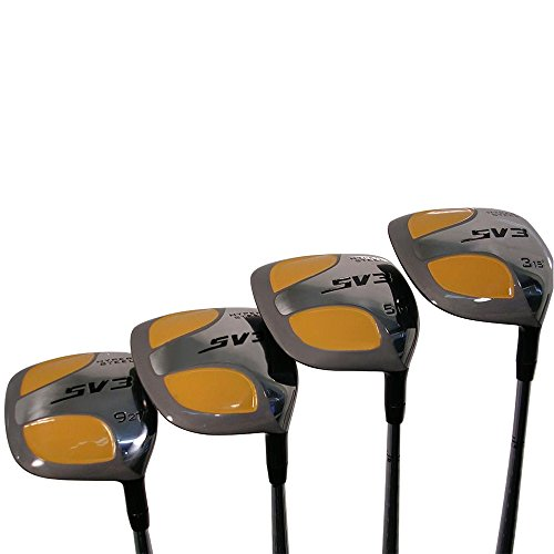 Senior Men's SV3 Yellow Square Fairway 3 5 7 9 Wood Set Golf Clubs, Right Handed Senior Flex with Men's Senior Size Black Pro Velvet Grips
